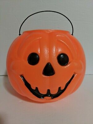 Vtg General Foam Orange Halloween Pumpkin Trick-or-Treat Candy Pail Silly Face
