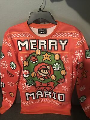 Super Mario Bros Merry Christmas Red Ugly Holiday Sweater Xmas Mens Small No Tag
