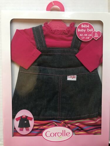 New Corolle Baby Doll Clothes Denim Dress Outfit Set for 17-