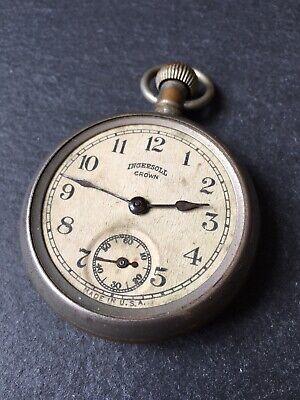 Vintage Mens Ingersoll Crown Fob Pocket Watch - Spares Or Repair Gents