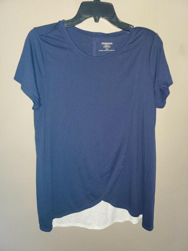 Womens Motherhood Maternity Nursing Shirt Size Large Top Blue Short Sleeve