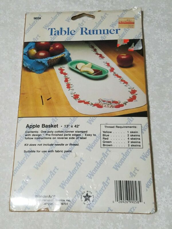 """New wonderart CLASSIC apple basket 13 x 42"""" Runner Stamped for Embroidery 9058"""