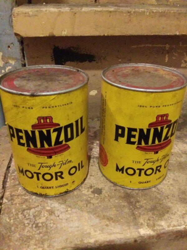 Vintage Set Of Pennzoil 1 Quart Oil Can Never Opened