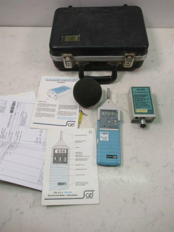 Cel 231 Sound Level Meter w/ Cel-282 Acoustical Calibrator Case & Manual Kit