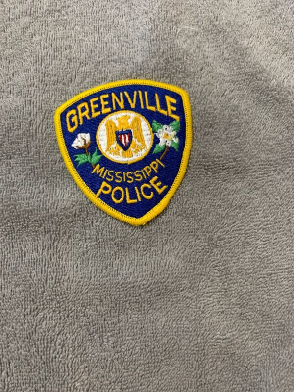 GREENVILLE MISSISSIPPI MS Police Sheriff Patch MAGNOLIA FLOWER COTTON BOLL ~