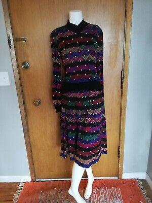 Vintage 1980s Missoni Italy Outfit Sweater Top Skirt Geometric Print Size Medium