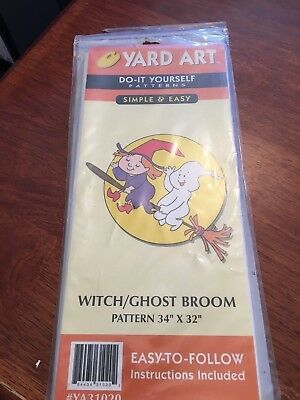 New - Do It Yourself Yard Art Pattern - Witch / Ghost Broom Halloween - Diy Halloween Yard Art