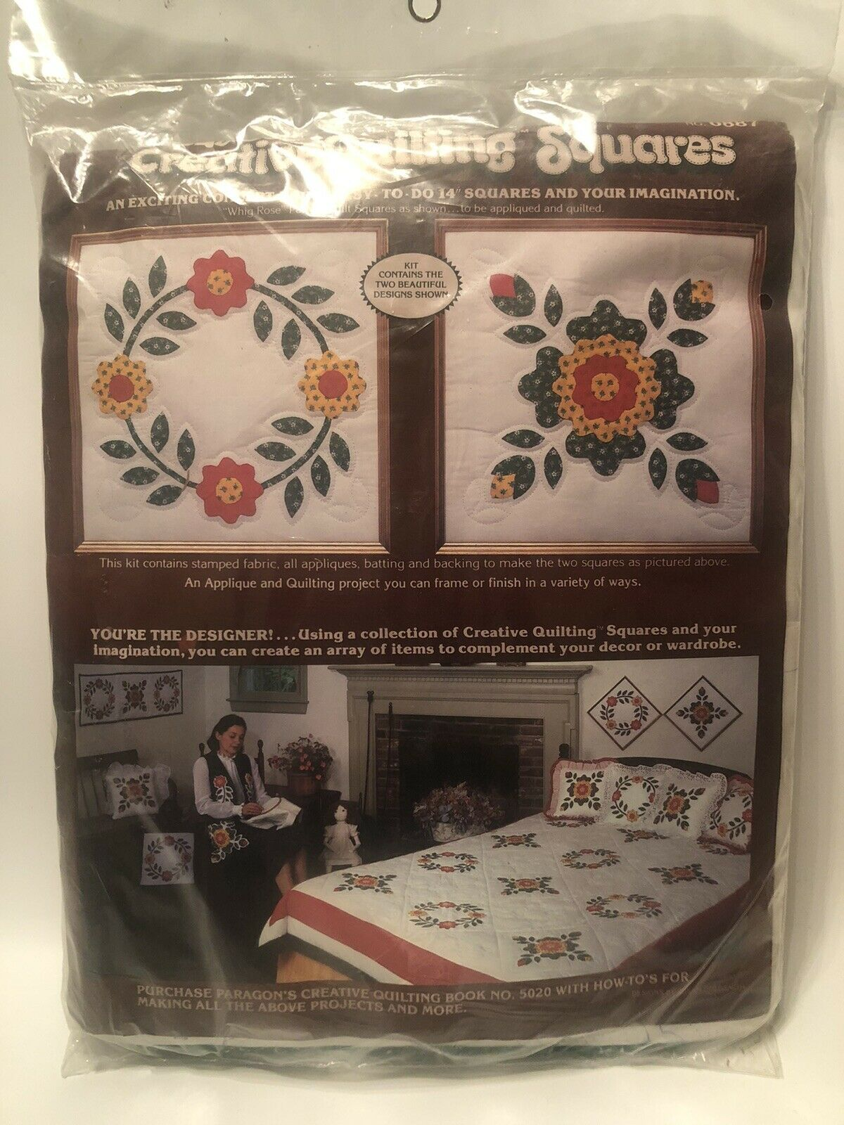 1981 Vintage PARAGON Creative Quilting Squares Whig Rose Quilt Block Kit - $19.99