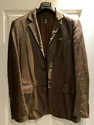 Mens Versace jacket in brown leather with Versace lining