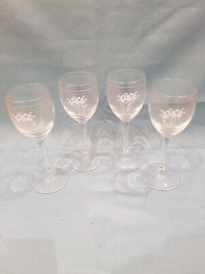 Vintage Set of 4 Luminarc France White Wine Glasses-Pastel Flower/Stripe Design