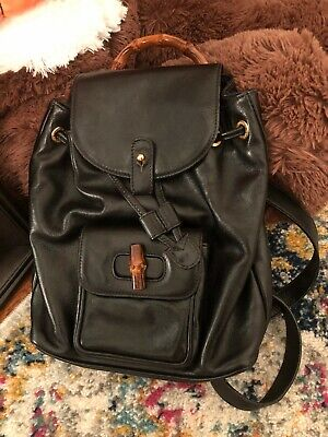 VINTAGE GUCCI mini bamboo leather backpack