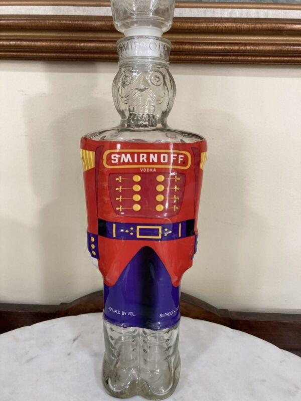 Vintage 1998 SMIRNOFF Vodka Nutcracker Glass Bottle 750 ML-Original Head