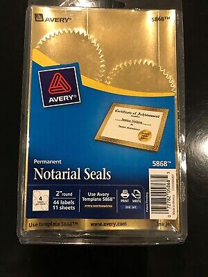 """Avery Print or Write Notarial & Certificate Seals 2 """" Round #5868 ()"""