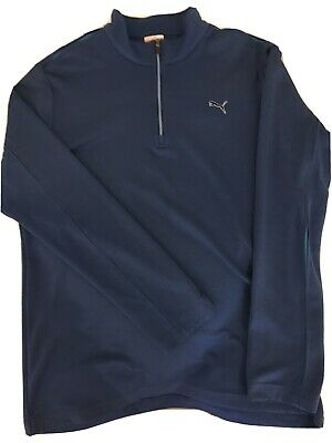 Puma Golf Mens Sport Lifestyle  1/4 Zip Top - M - Blue With Light Blue Trim
