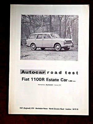 FIAT 1100R ESTATE - 1,089cc -1964 - Original AUTOCAR Road Test Leaflet