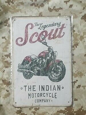 Indian Motorcycle The Legendary Scout Tin Sign Wall Décor Retro Style Garage