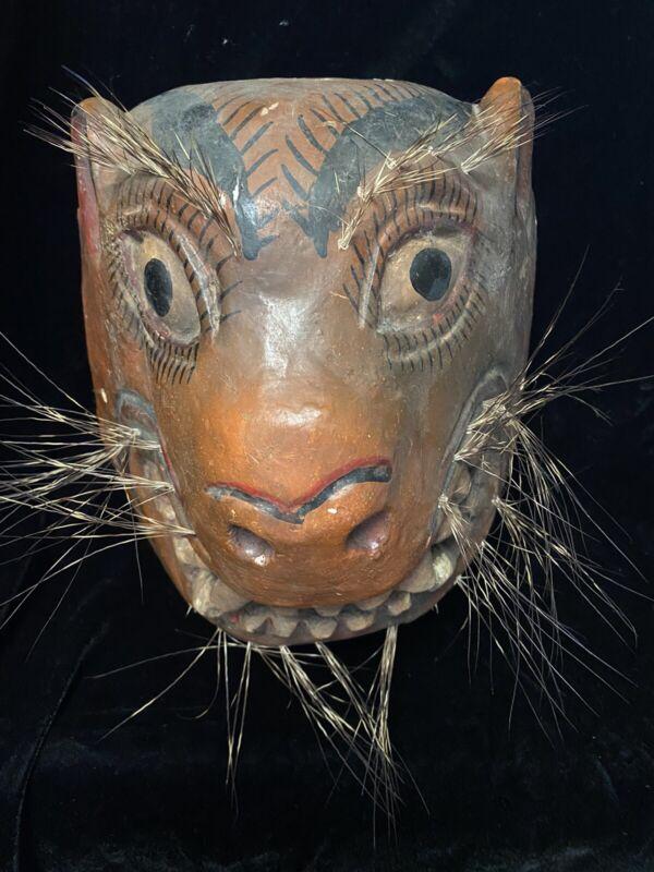 VINTAGE GUATEMALAN MAYAN MEXICAN FOLK ART ANIMAL MASK