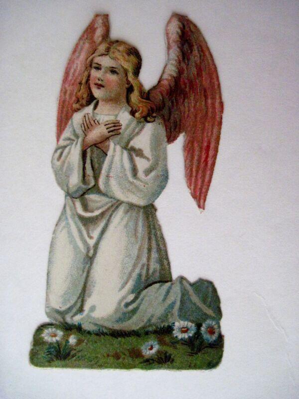 Vintage Die Cut of Sweet Angel Kneeling While Praying w/ Pink Wings (N)*