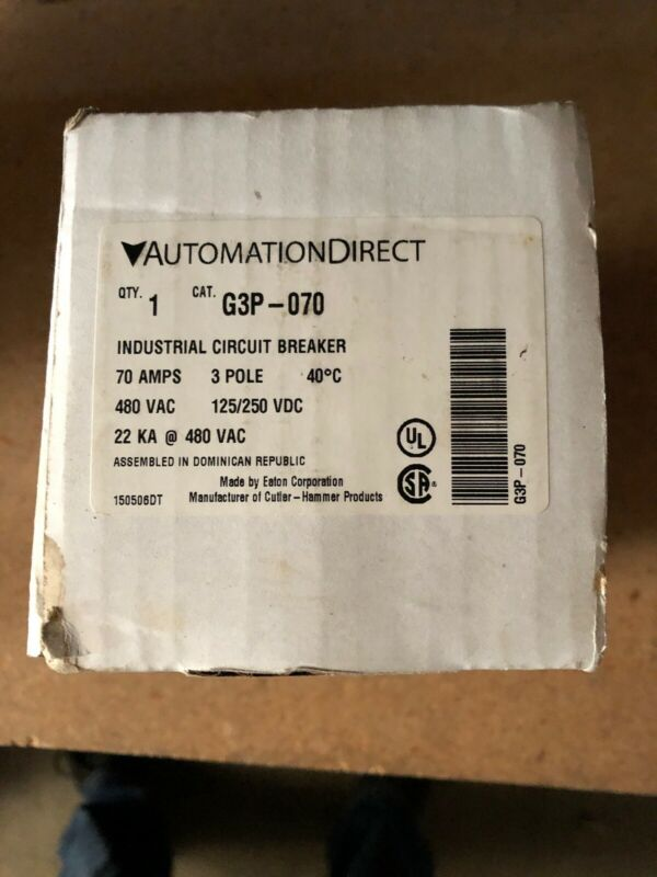 AUTOMATION DIRECT G3P-070 / G3P070 3 Pole 70 Amp Circuit Breaker New In Box