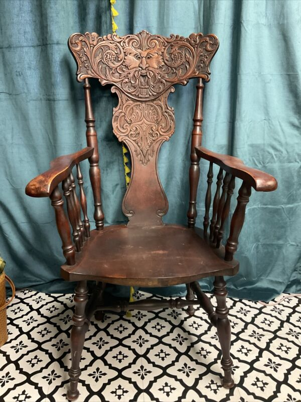 Antique Carved NORTHWIND Face Victorian Accent Chair