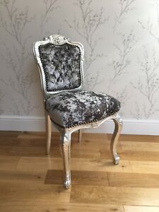 French Louis style Shabby Chic Grey Crushed Velvet bedroom Chair w Silver frame