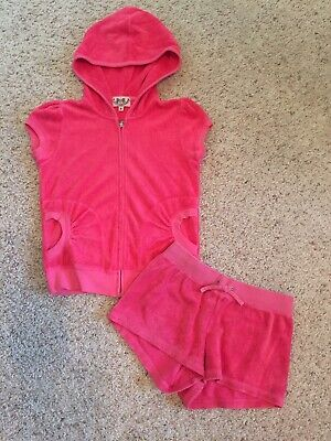 Girls Size 8 Juicy Couture Terry Cloth Pink Short Set