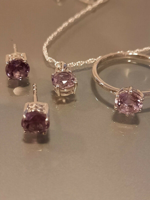Rose De France Amethyst Ring, Earrings, & Pendant Sz 6 Platinum over Sterling Si