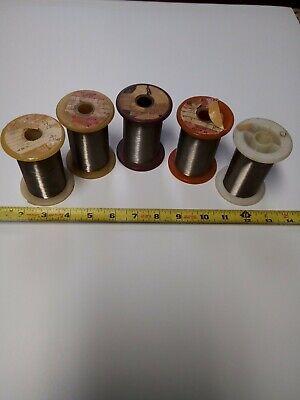 Lot Of 5 Rolls Vintage Resistance Resistor Wire Micro Fine Spools Lot102-37