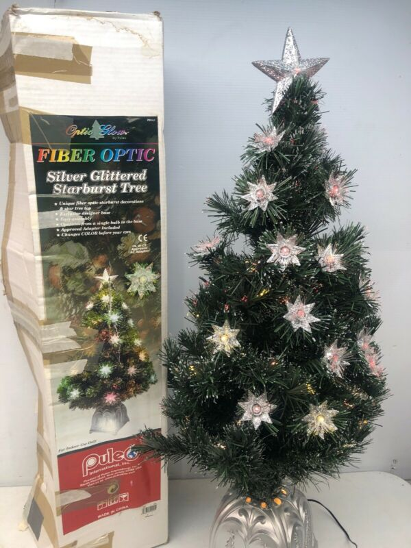 Vintage Puelo Optic Glow Silver Glittered Starburst Fiber Optic Christmas Tree