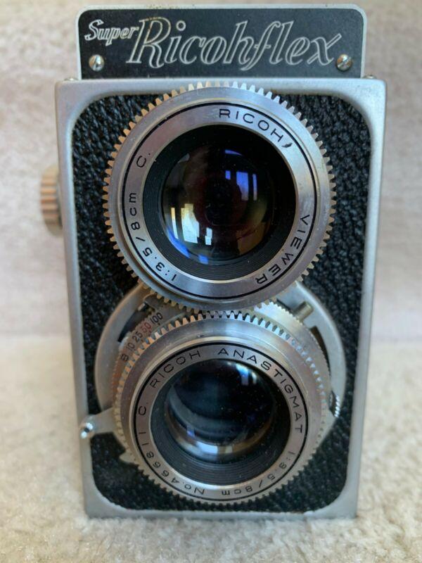 "Super Ricohflex TLR 2 1/4"" X 2 1/4"" Camera w/ Auto Stop, Case Strap Box & Manual"