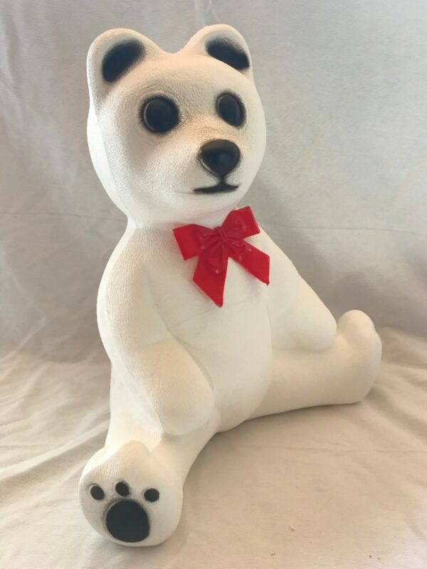Blow Mold Polar Bear White Red Bow  Black Paws Lighted Decoration