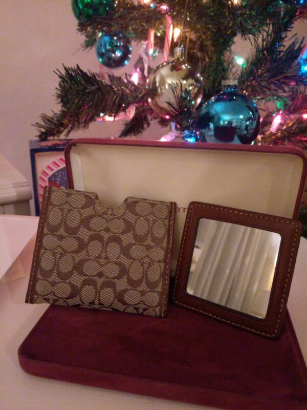 COACH Signature Purse Mirror with Case Khaki/Toffee