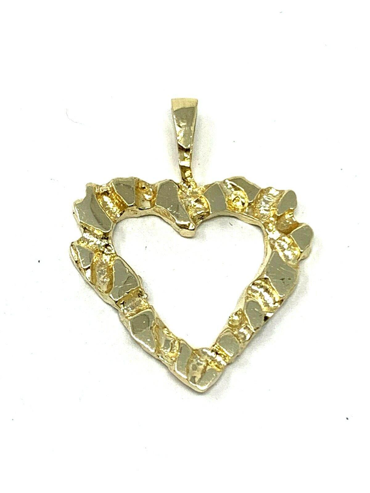 14k Yellow Gold Nugget Heart Charm Pendant 2.3g