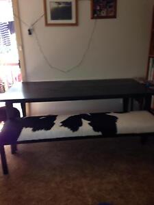 5th Avenue dining table and cow hide covered bench seat Niagara Park Gosford Area Preview