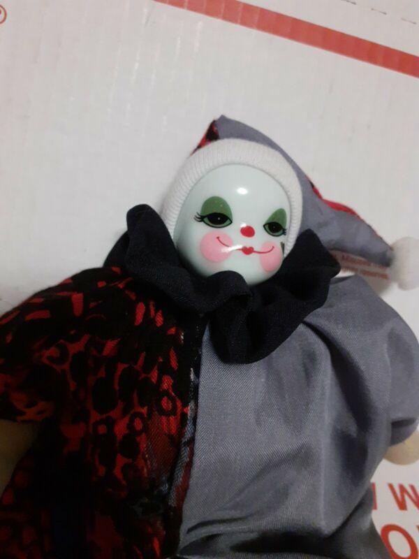 """VINTAGE Clown Doll Porcelain Head Bean Bag Body Made In Thailand 7"""" Tall"""