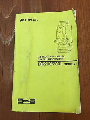 Topcon Digital Theodolite Dt-200 Dt-200l Instruction Manual Surveyor
