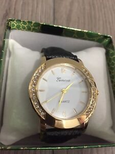 Gold Geneva Leather Watch with Rhinestones
