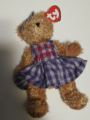 2000 Ty Mother's Day Mommy Brown Bear w/ Outfit Plush Stuffed Animal w/ Tags