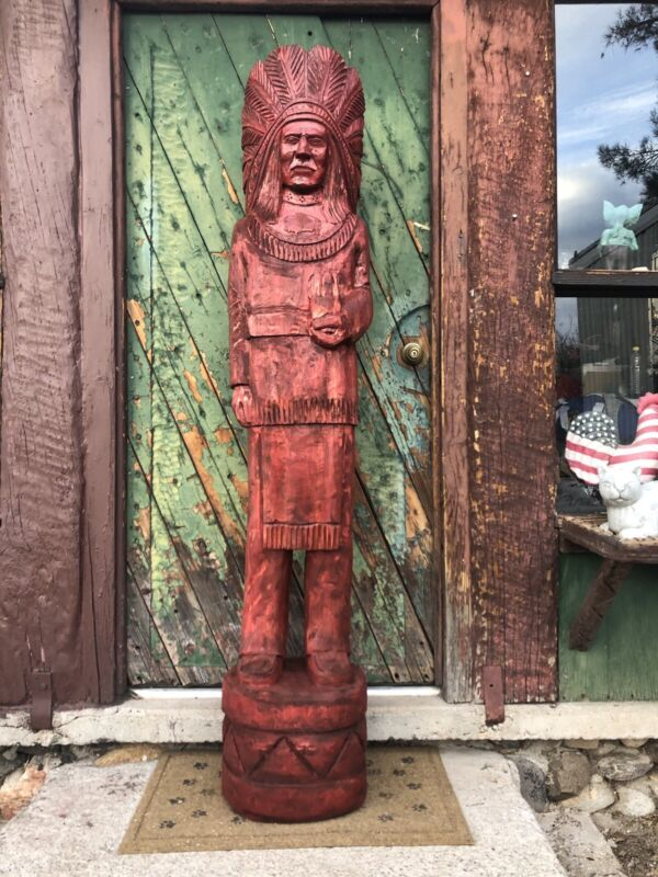 John Gallagher Carved Wooden Cigar Store Indian Statue 4 ft.Tall Stained