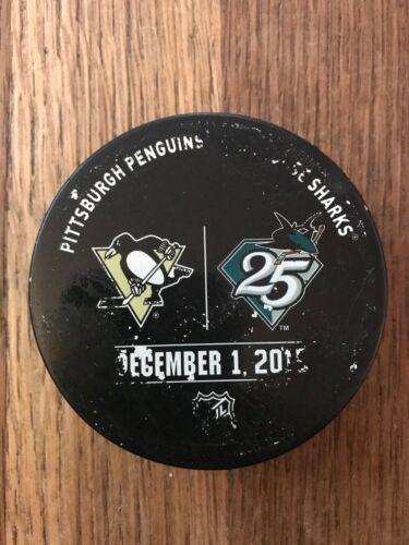 Pittsburgh Penguins San Jose Sharks Game Used Warmup Puck 12/1/2015 NHL