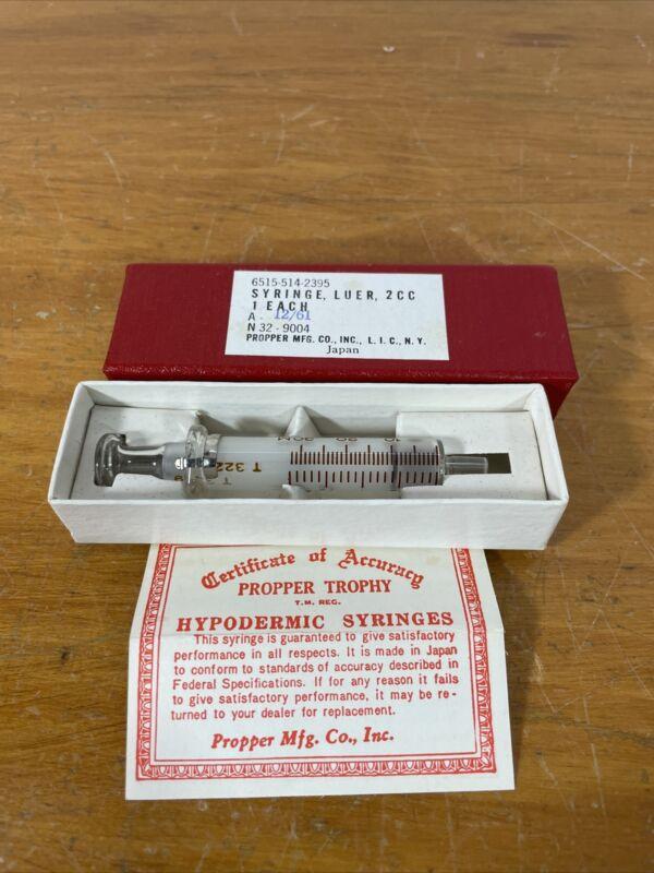 Vintage Propper Mfg Co Inc 1961 Glass Syringe Luer 2cc Medical  32-9004
