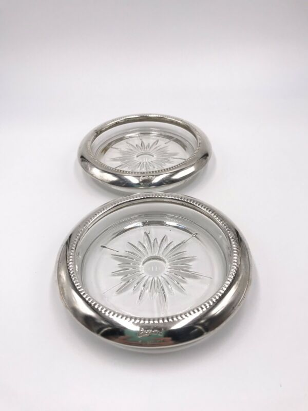 """Vintage Leonard Silverplate Made Glass In Italy Coaster Set Of 2 3 3/4""""x 1/2"""""""
