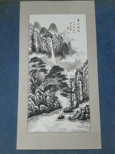 BEAUTIFUL SIGNED  VINTAGE CHINESE MOUNTAIN LANDSCAPE WATERCOLOR PAINTING