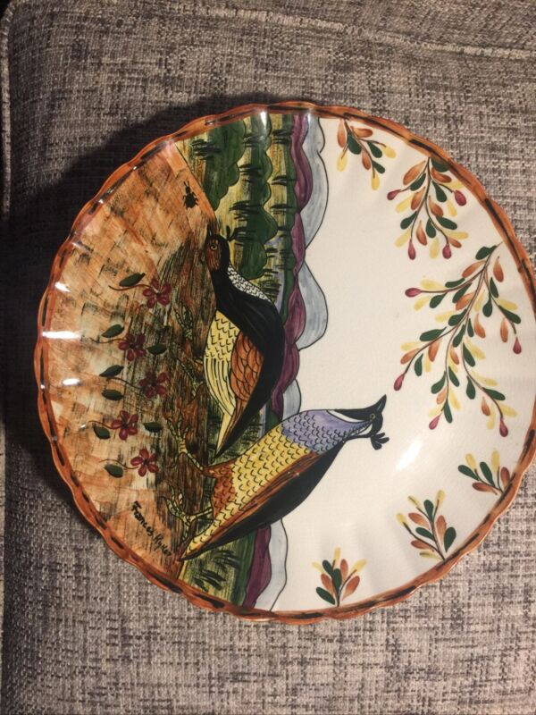 Blue Ridge Pottery Quail Plate Signed by Frances Kyker