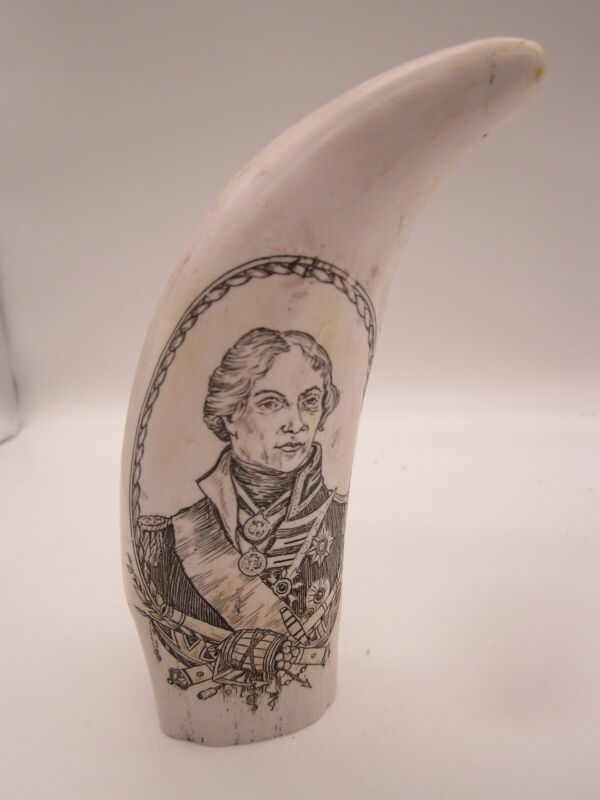 Faux Whale Tooth Scrimshaw Vice-Admiral Horatio Nelson & HMS Victory Replica