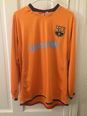 BARCELONA 2006 2007 AWAY JERSEY LONG SLEEVE #19 LIONEL LEO MESSI SIZE - Barcelona Long Sleeve Away Jersey