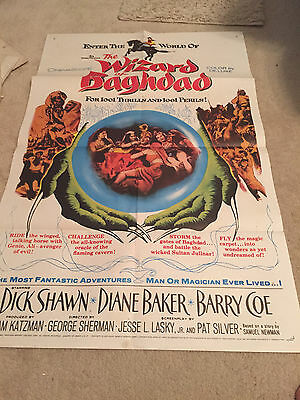 ORIGINAL ONE SHEET 27 X41 VINTAGE POSTER  FOLDED WIZARD OF BAGHDAD SHAWN