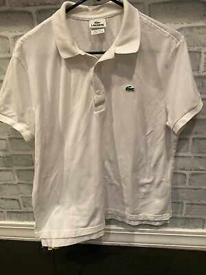 Mens Lacoste Short Sleeves Polo Shirt White 100% Cotton Size 5/ M Short