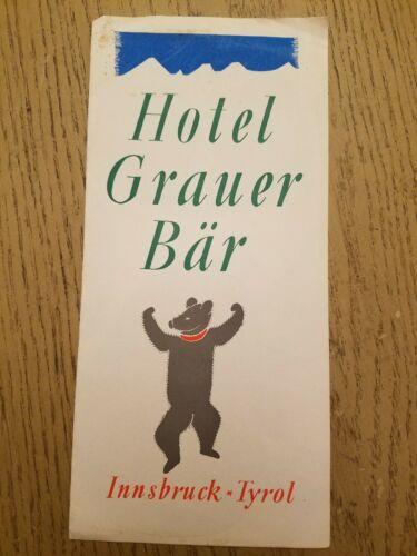 VINTAGE 1956 Hotel Grauer Bar Innsbruck Tyrol Austria Tourist Brochure City Map