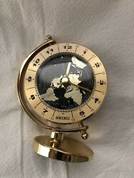 SEIKO Golden Globe Desk & Table Clock (World Time Quartz Movement) Gold Tone